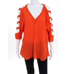 Boulee Orange Open Sleeve Blouse Top